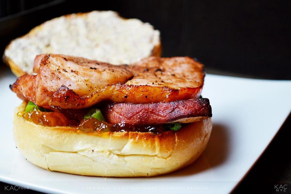 "KAC HAM & JAM ""SAMMIE"" | Sliced Baked Ham and Fig Jam Sandwich, with Scallions, Grain Mustard Mayo"