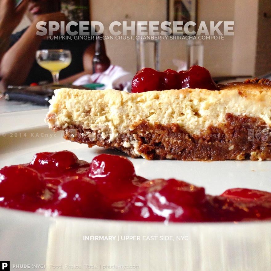 SPICED CHEESECAKE | Pumpkin, Ginger Pecan Crust, Cranberry Sriracha Compote