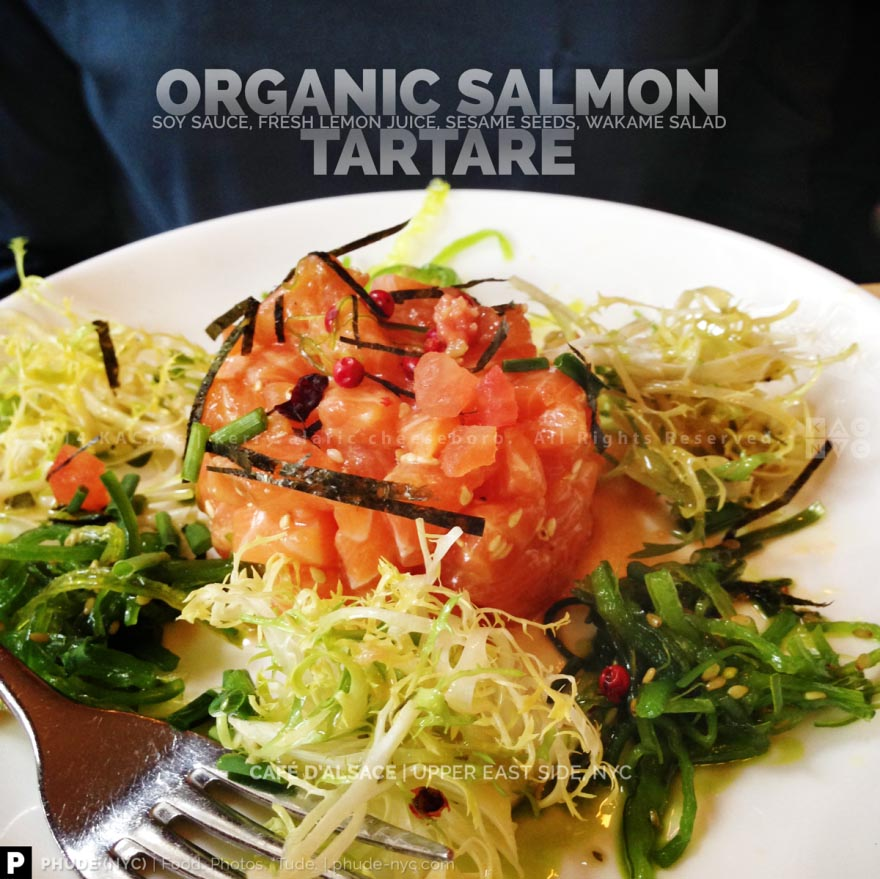 ORGANIC SALMON TARTARE | Soy Sauce, Lemon Juice, Sesame Seeds, Wakame Salad | CAFE D'ALSACE | Upper East Side, NYC