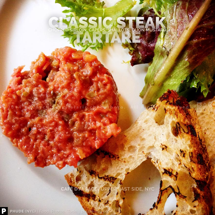 CLASSIC STEAK TARTARE | Chopped Sirloin, Capers, Shallots, Dijon Mustard | CAFE D'ALSACE | Upper East Side, NYC