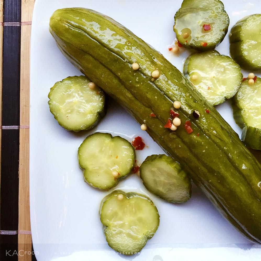KAC FRIDGE PICKLES | Mustard Seed, Tarragon, Garlic, Fresh Cracker Pepper, Red Pepper Flake, White Wine Vinegar, Cider Vinegar, Sugar, Salt