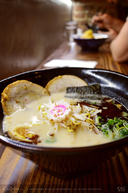 OKINAWA SALT PORK RAMEN | Braised Pork, Sardine Powder, Scallion, Egg, Garlic, Naruto, Bean Sprout, Nori Seaweed, Bamboo, Sesame | MEIJIN RAMEN | Upper East Side, NYC