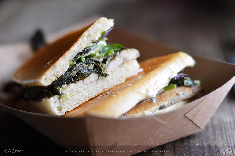 SMOKE EEL SANDWICH | Kalechee, Horseradish Cream, Greens, Maple Sauce | HARRY & IDA'S MEAT AND SUPPLY CO. | Alphabet City, East Village, NYC