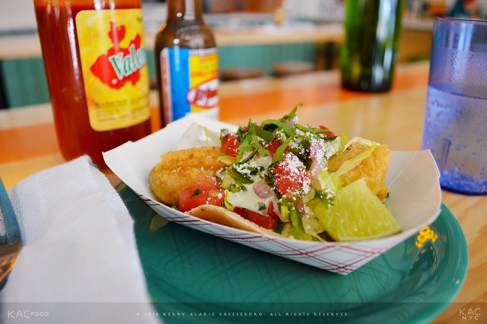 I CAN HASS TACO? | Tempura-Battered Hass Avocado, Black Beans, Jalapeño Cream, Shredded Lettuce, Pico de Gallo, Cotija Cheese | PLAYA BETTY'S | Upper West Side, NYC