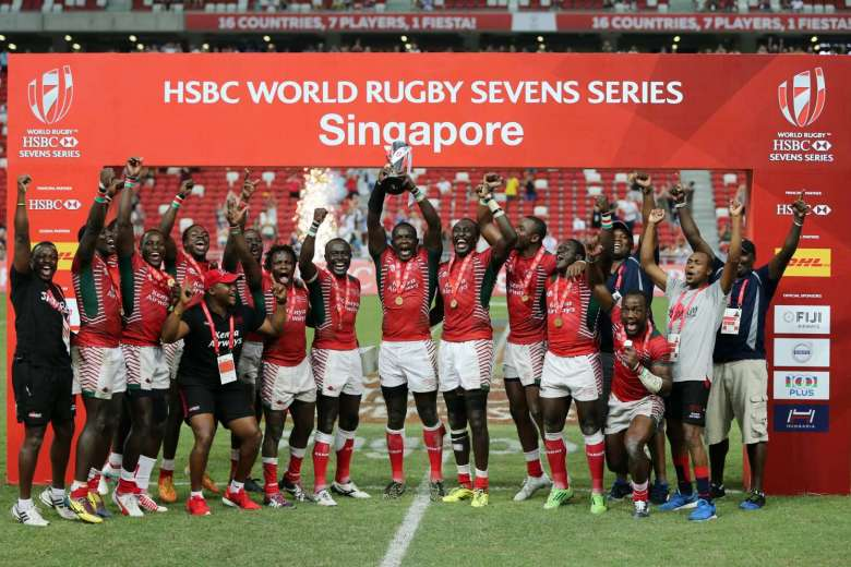Kenya celebrate their first ever World Sevens Series win in Singapore.