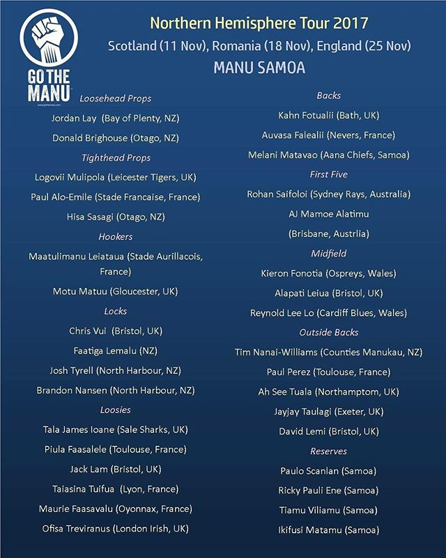 Manu Leiataua and Motu Matu'u have been selected in the Manu Samoa squad for their Northern Hemisphere Tour in November. Can't wait to see the boys in action for their country in the next few weeks. Love your work. #ManuLeiatauaGCPSport #MotuMatuuGCPSport #ManuSamoa #ManuSamoaRugby #Samoa #SamoaRugby #GCPWolfPack #GCPSportFamily #TRAINHARDTRAINSMART