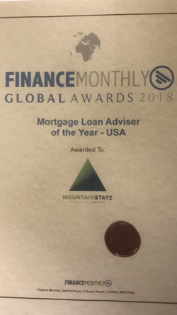 Awarded as   Mortgage Loan Adviser of the Year - USA   at the Finance Monthly Global Awards 2018