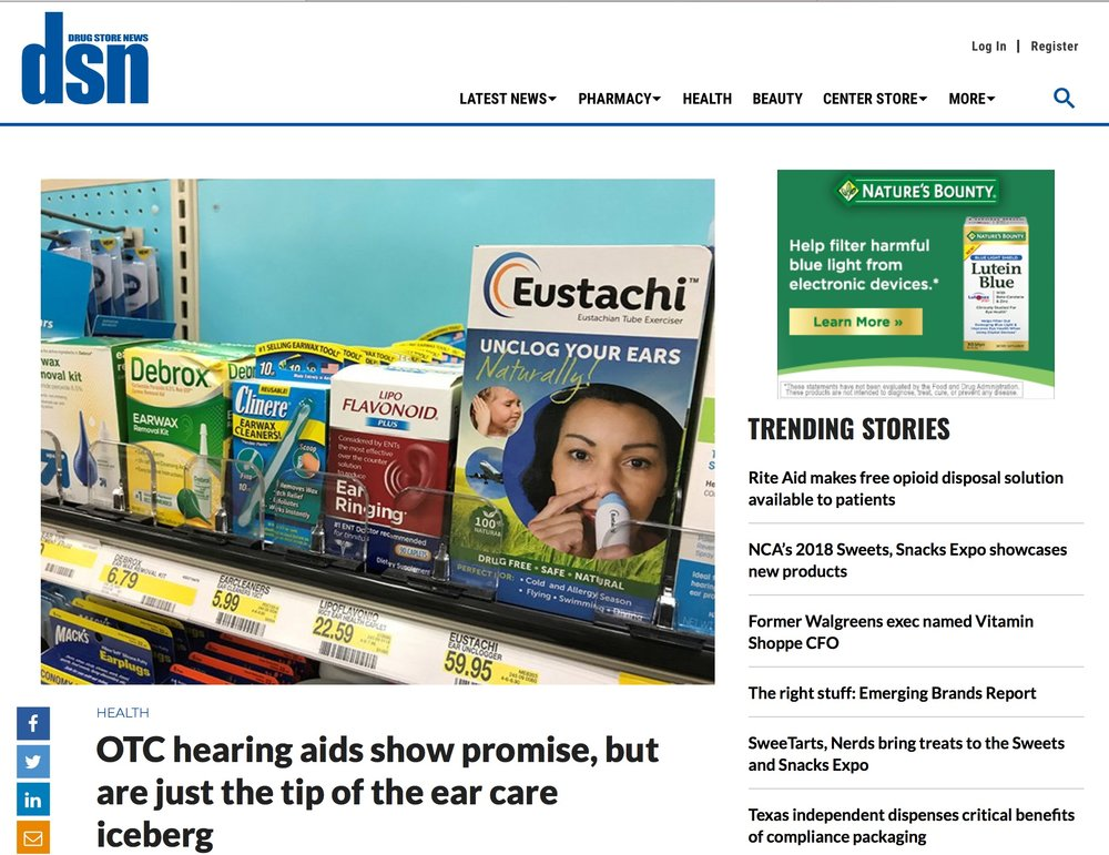 Screenshot of Drug Store News online magazine story featuring Eustachi for ear pressure relief