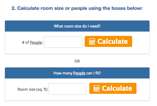calculator size of room and how many people
