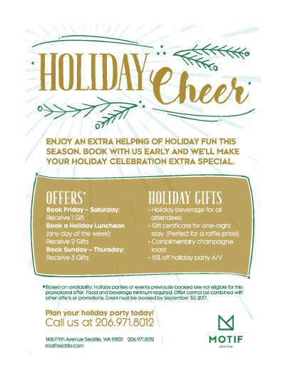 holiday deal for meeting and groups seattle
