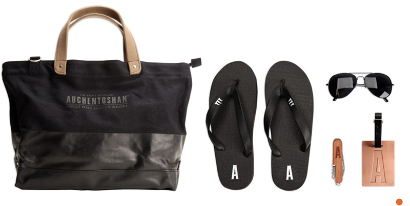 This Auchentoshan Kit was used for a brand ambassadors kit. The canvas bag with leather straps was completed with flip flops, sunglasses, knife and luggage tag. Jack Nadel International