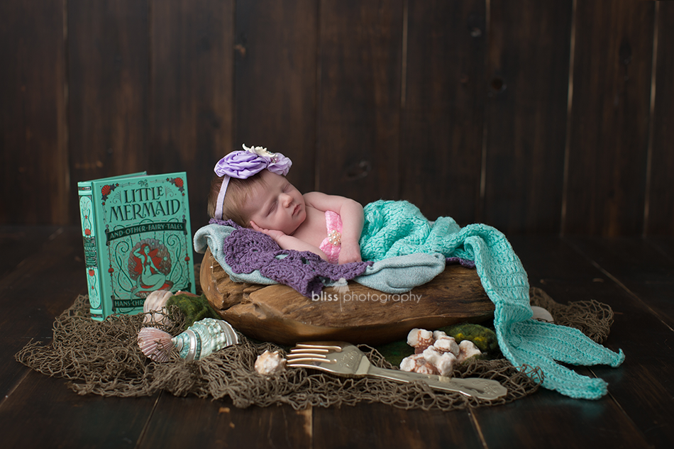 little mermaid ariel disney newborn photo