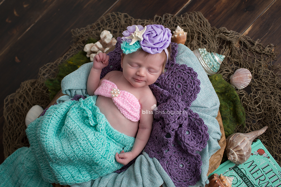 disney little mermaid newborn photo shoot