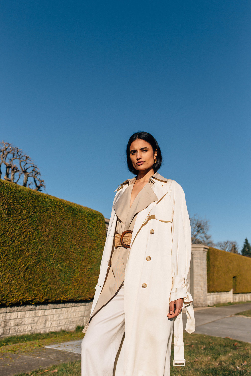 Katie  wearing  Earrings, Céline  Jackets & Bottom, Aritzia Shoes, Dries Van Noten   Key Models ,  Plutino Models ,  Folio Montreal   Styled by  Jake Ahnert   Vancouver '19