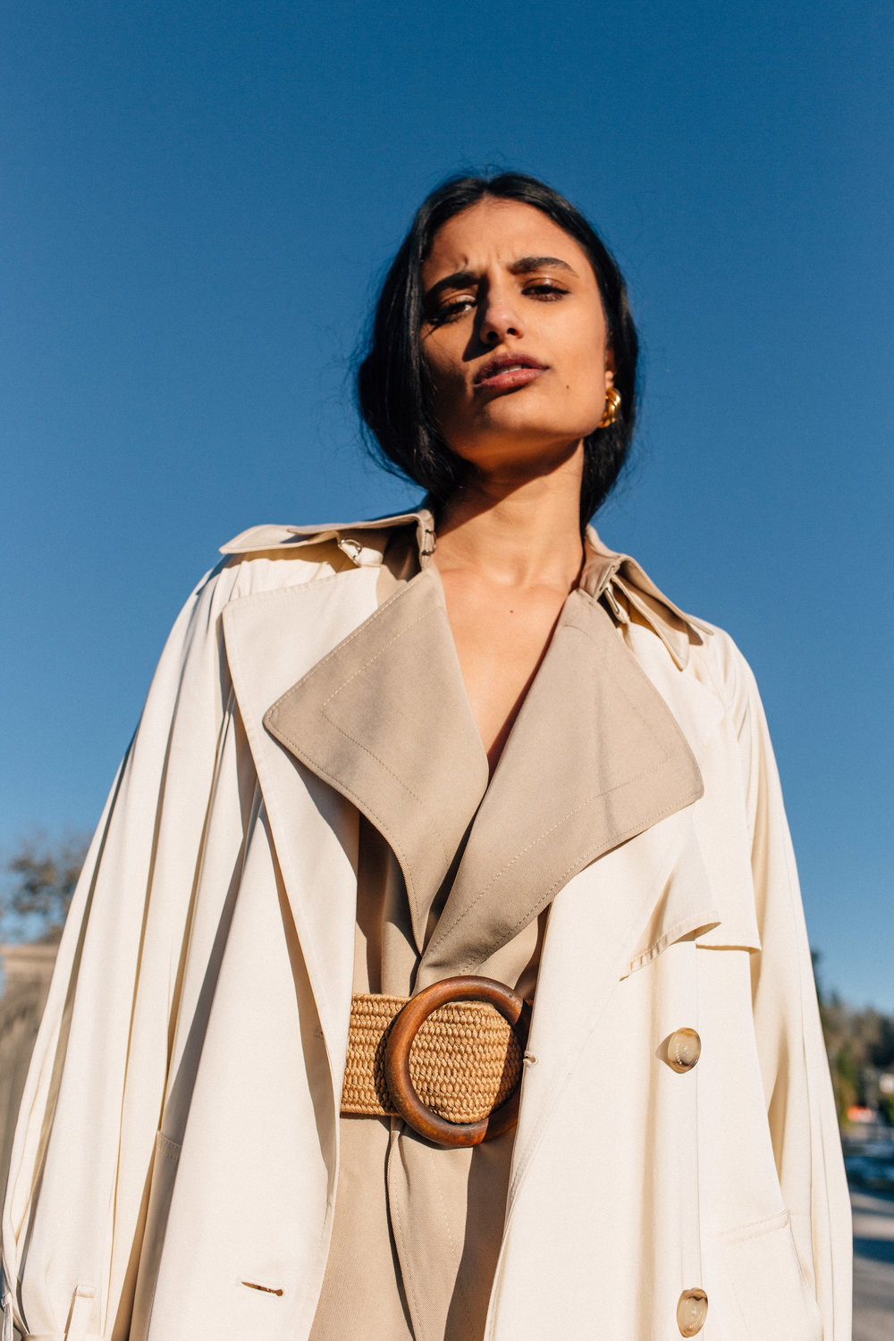 Katie  wearing  Earrings, Céline  Jackets, Aritzia Shoes, Dries Van Noten   Key Models ,  Plutino Models ,  Folio Montreal   Styled by  Jake Ahnert   Vancouver '19