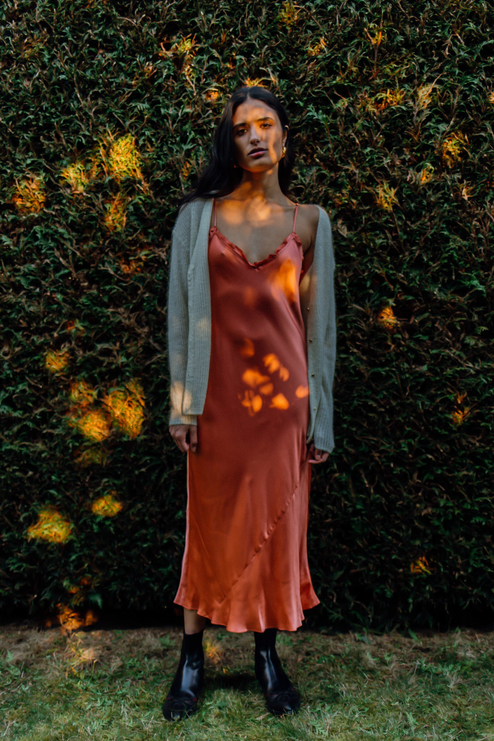 Katie  wearing  Earrings, Céline  Dress & Cardigan, Aritzia Shoes, Dries Van Noten   Key Models ,  Plutino Models ,  Folio Montreal   Styled by  Jake Ahnert   Vancouver '19