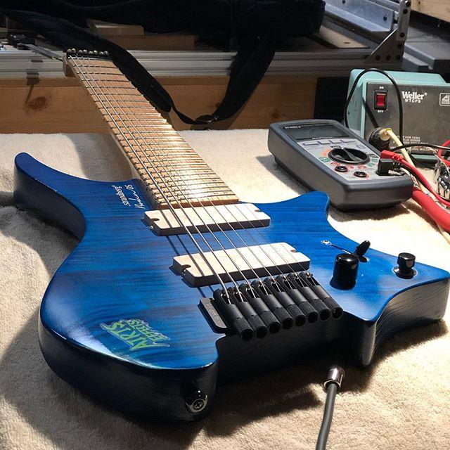 Put some prototype 8 string pickups in @infiniteeband 's @strandbergguitars djent machine.