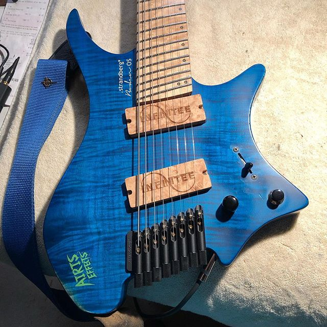 """Finished up the custom pickups for @infiniteeband . Laser engraved maple burl covers. Super switch wiring for series and parallel coil switching on each pickup, plus a middle position with the 2 inner coils engaged. Custom voiced """"tight"""" circuit to keep the low end under control with high gain. Sound samples coming soon."""