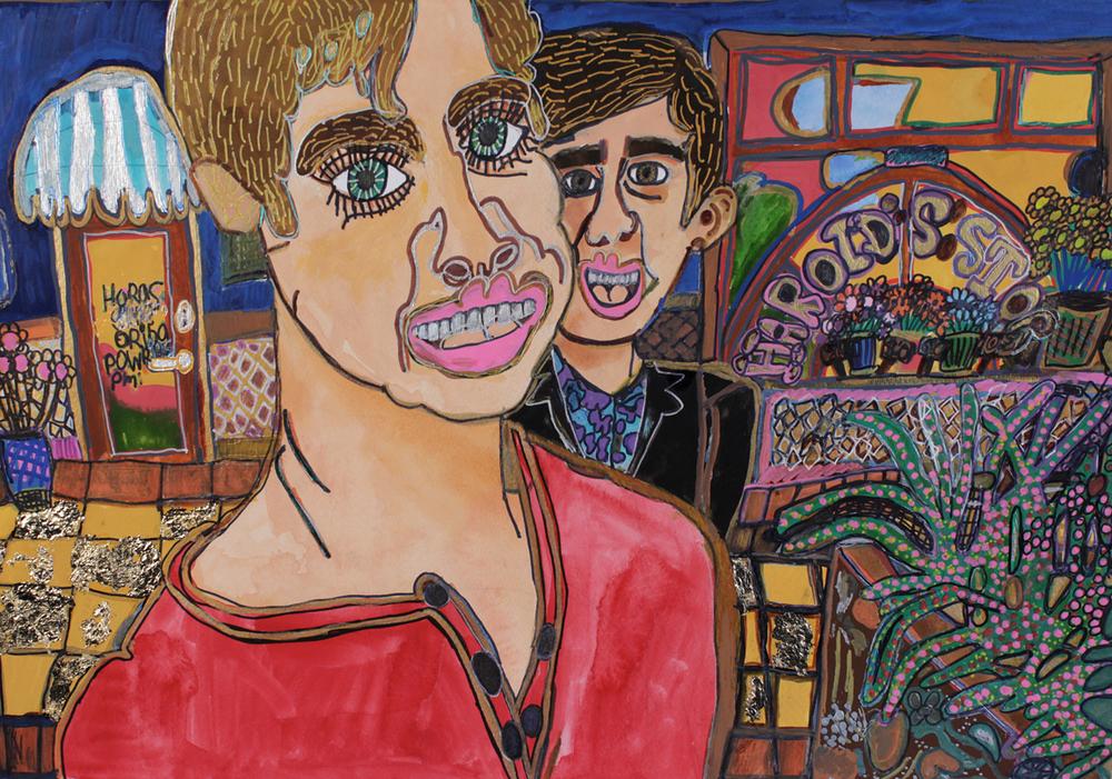 Harold's Stop, 2015, pen, pencil, gouache and posca on paper, 35 x 50cm