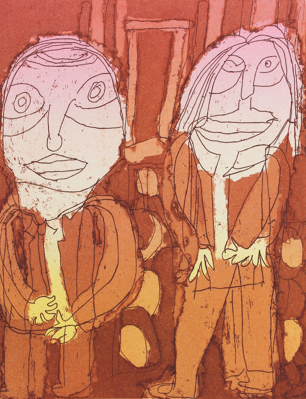 Two Men Smoking, 2012, etching aquatint, 19x24.5cm