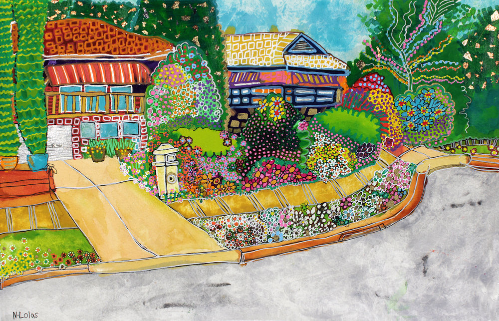 Ramsay Street, 2015, pen, pencil, gouache and posca on paper, 38 x 56cm