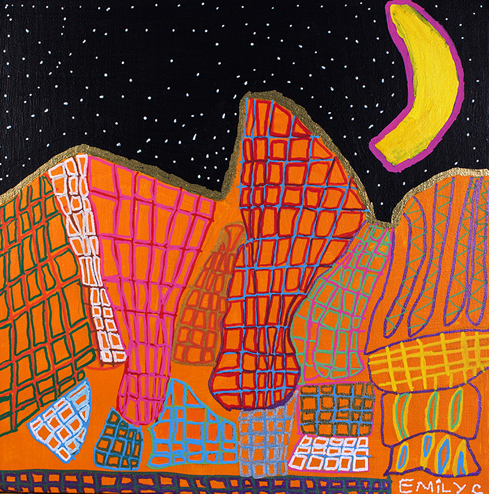 Emily Crockford, Sydney Opera House at Night, 2014, acrylic and posca on board, 50x65cm