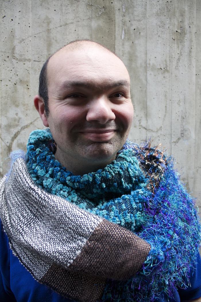Adam Mandarano, looped weaving, 2015, natural yarns, wool and cotton (model: the artist)
