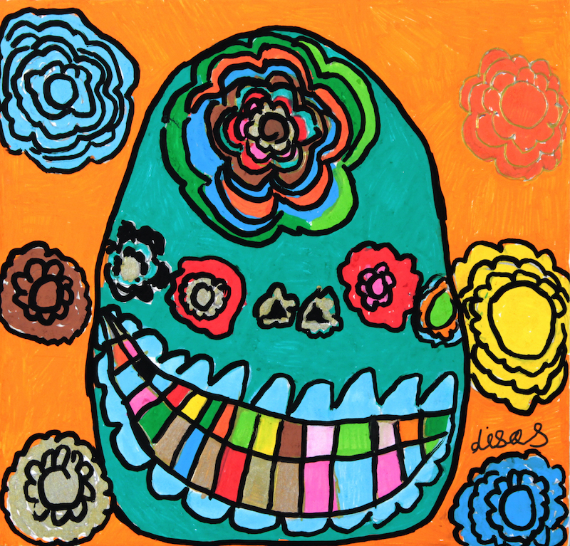 Lisa Scott, Smiling Skull, 2015, acrylic and posca on canvas, 50x50cm