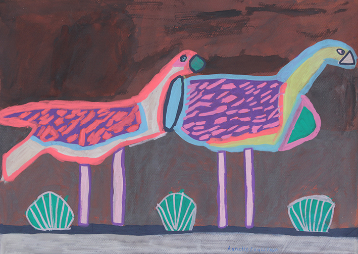 Annette Galstaun, Fluro Birds, 2015, pastel, acrylic and posca on card, 20x35cm