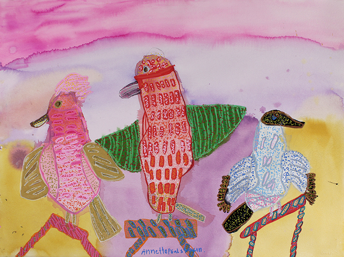 Annette Galstaun, Rainbow Birds, 2015, gouache and posca on paper, 35x50cm