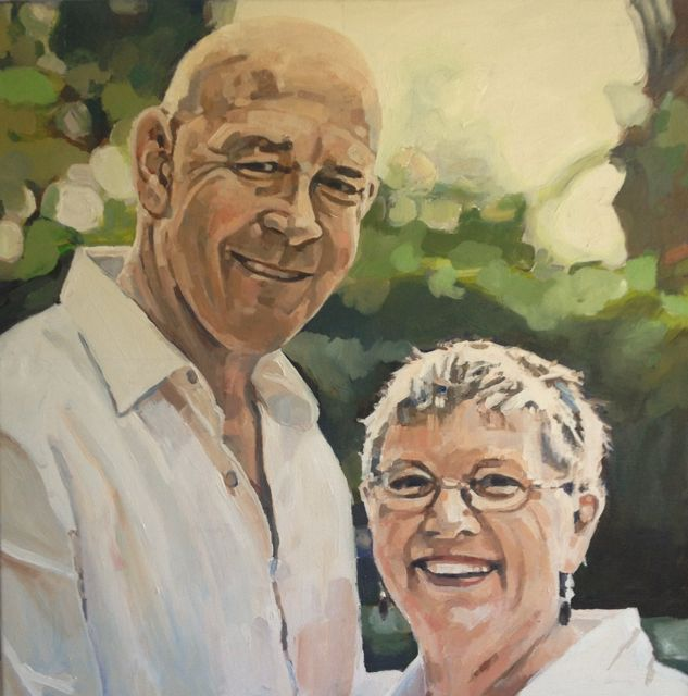 Portrait of Richard Grellman and Suellen, Chair of AMP Foundation, 2017, oil on canvas, commissioned by AMP foundation