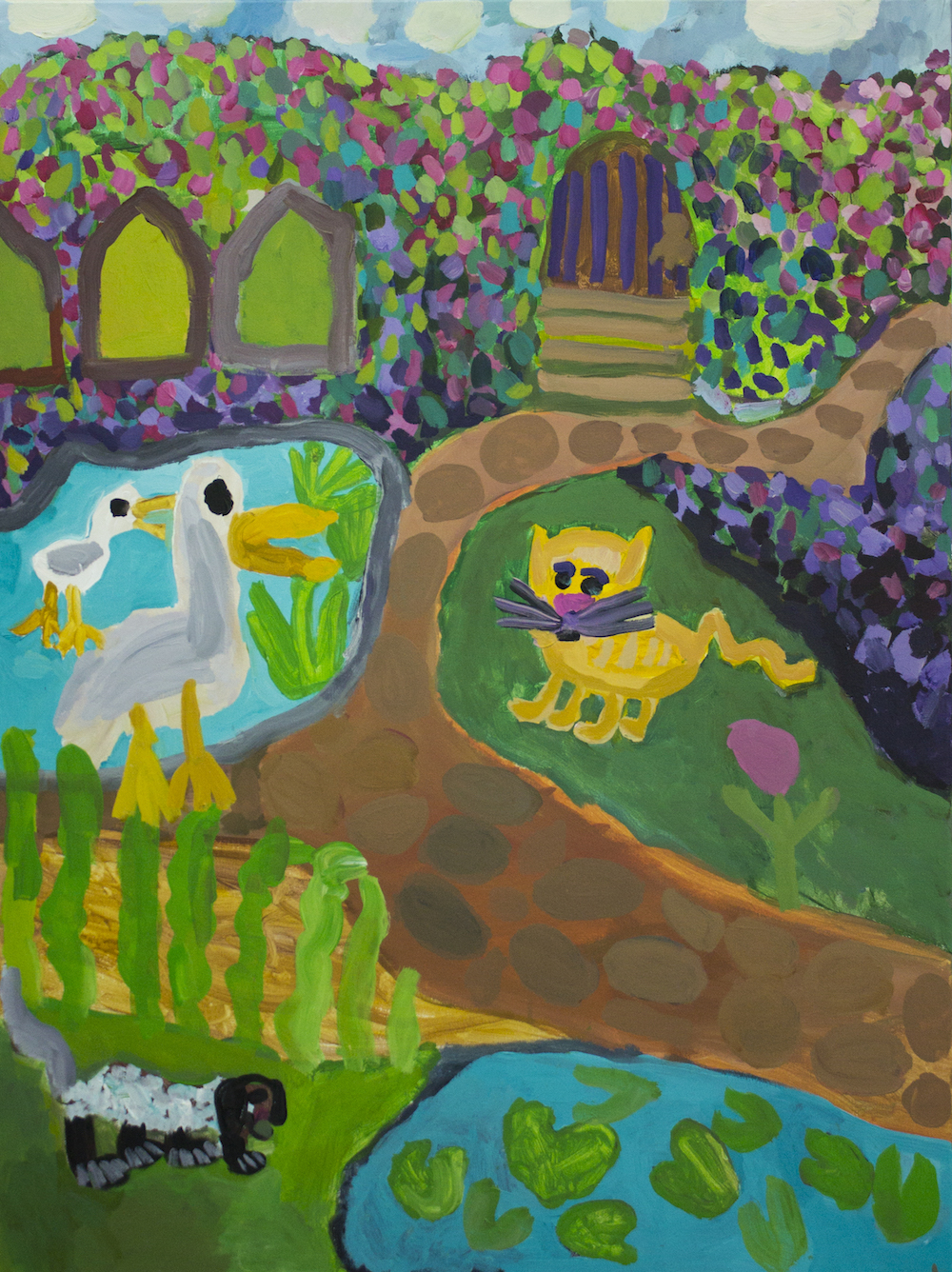 Nadia Lolas and Laura Jones, The Secret Garden (triptych), 2016, oil on canvas