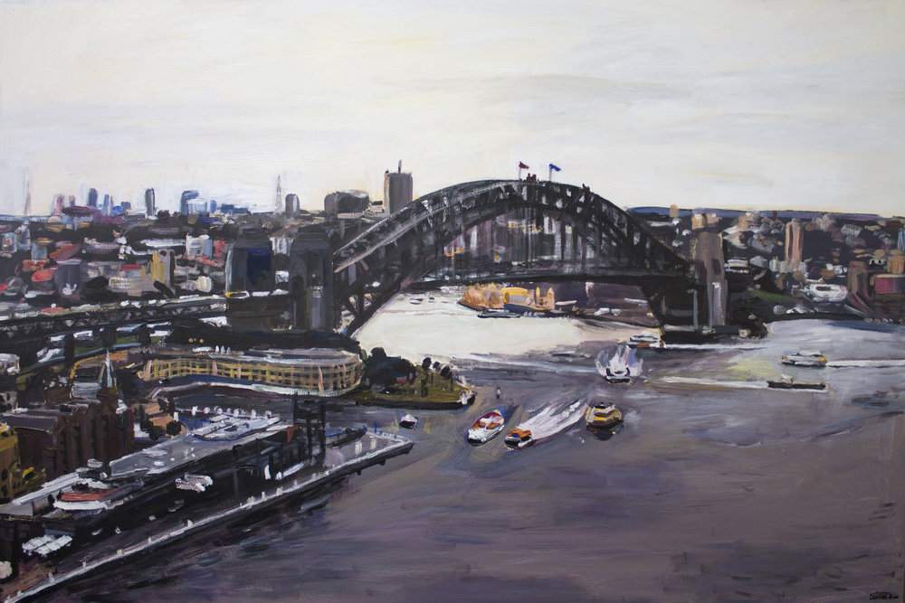 Daniel Kim, Sydney Harbour Bridge at Circular Quay, 2017, oil on canvas, 120cmx100cm