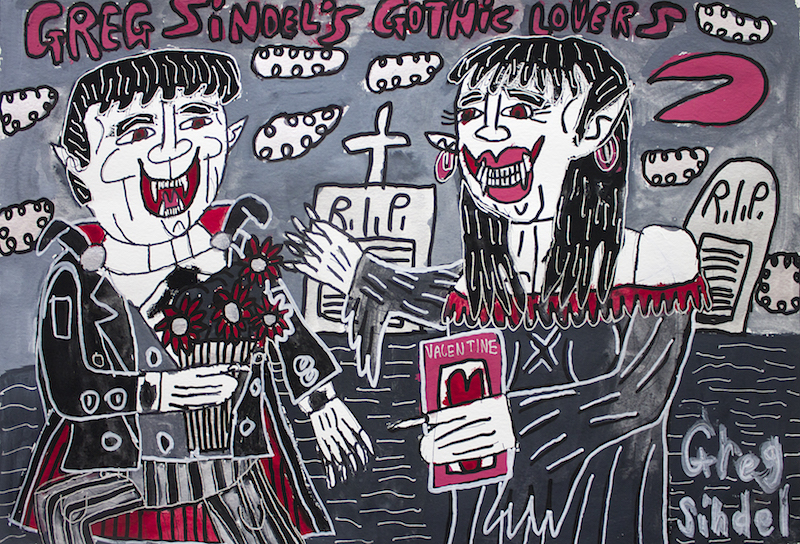 Greg Sindel's Gothic Lovers, 2017, gouache and posca on paper, 42x30cm