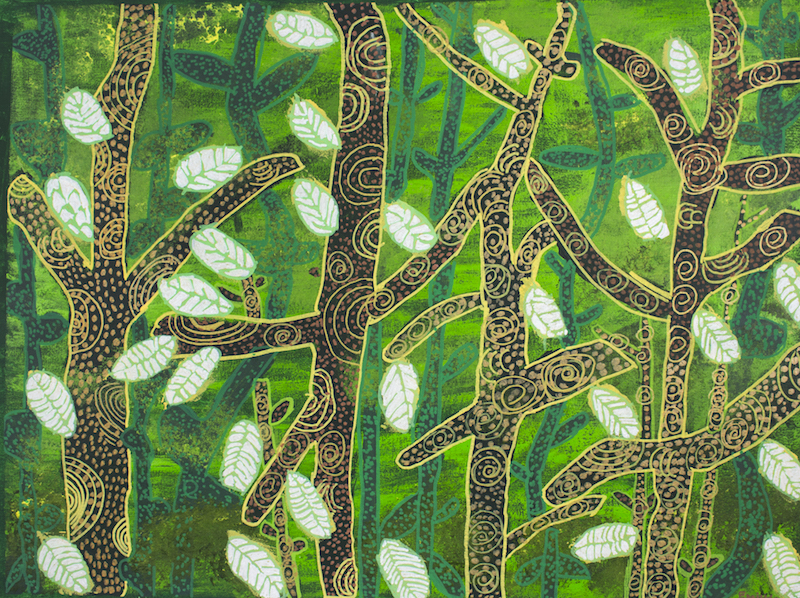 Spunky Bush Trees, 2017, acrylic and posca on canvas, 75x57cm