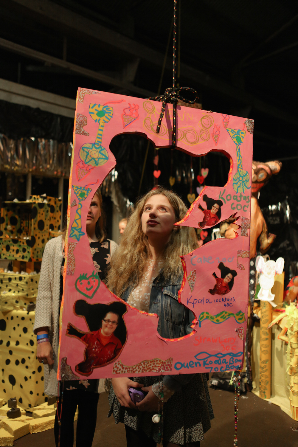 Audience members engaging with Tutti Frutti Dream Factory,a collaboration between the Studio A Props Collective and artist, Rosie Deacon for Underbelly Arts Festival. August, 2015. - Photograph by Maja Baska