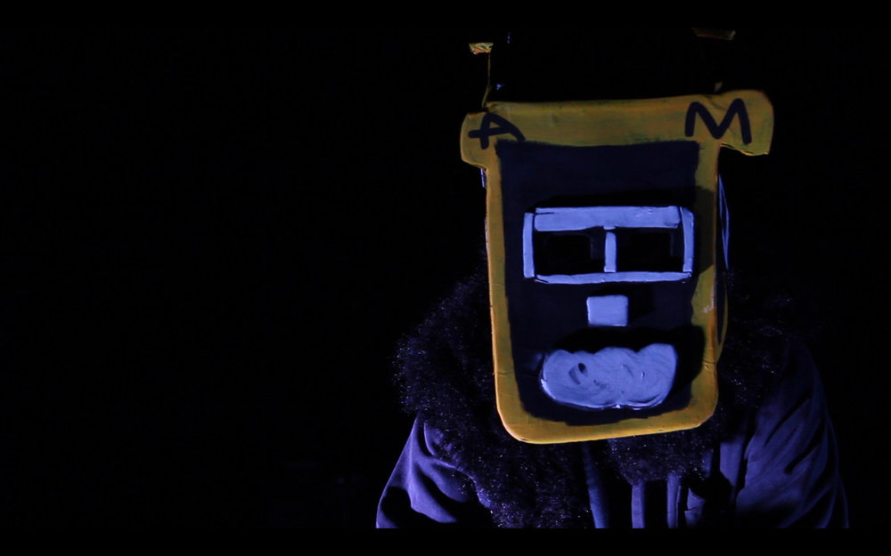 Thom Roberts as the Budgie Keynote Monster for birdfoxmonster: In Development, a collaboration between Studio A supported artists, Meagan Pelham, Thom Roberts, and Skye Saxon alongside Scott Wright, Elias Nohra, James Brown, Emma Johnston and Gabrielle Mordy. September,2016. - Image by Sam James