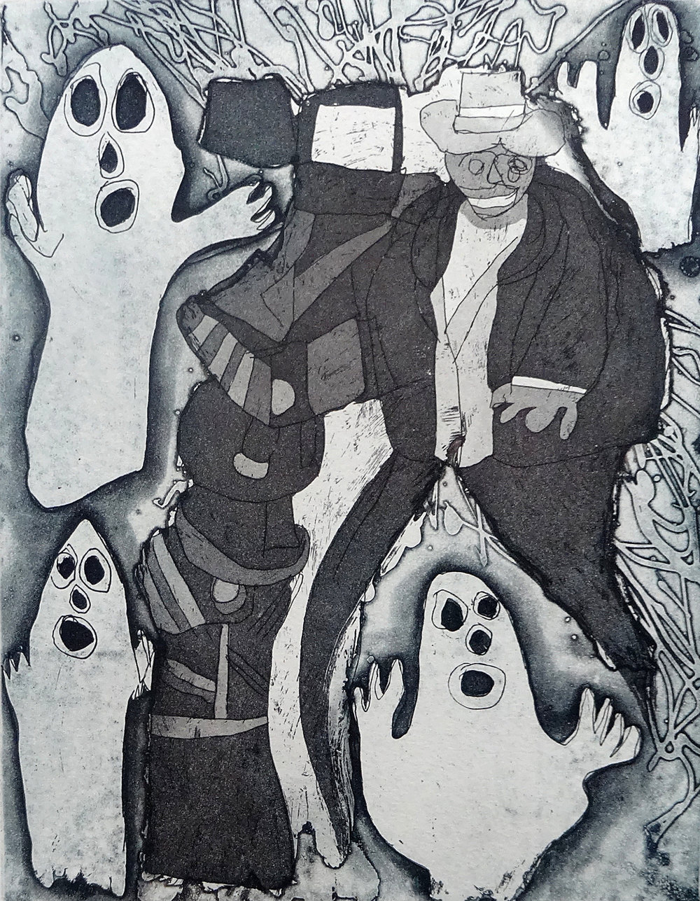 Mathew Calandra, Ghost Movie, 2015, Etching on Paper, on show at Sydney Contemporary Art Fair.