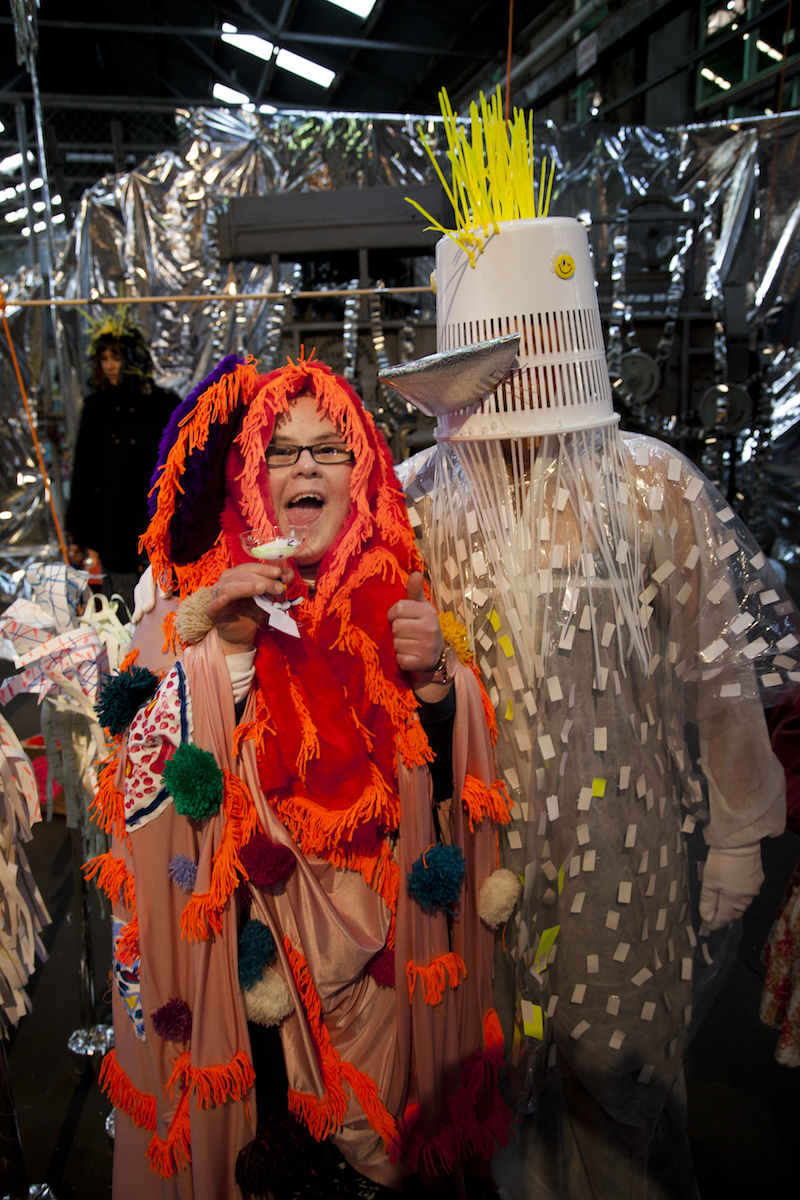 Emily Crockford and Rosie Deacon performing in their collaborative installation, Tutti Frutti Dream Factory,at the Underbelly Arts Festival, August 2015, Cockatoo Island.