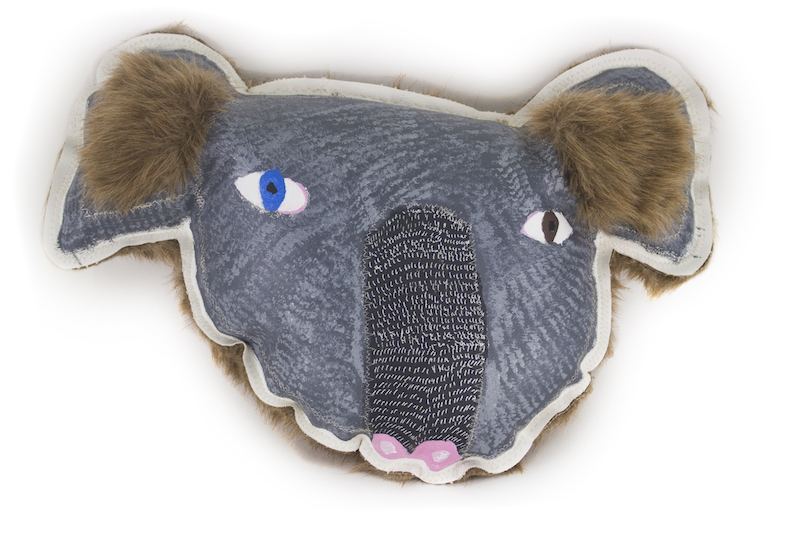 Emily Crockford,Wild Koala,2017, acrylic, posca marker, faux fur ears and backing, on padded canvas, 24x26x15cm
