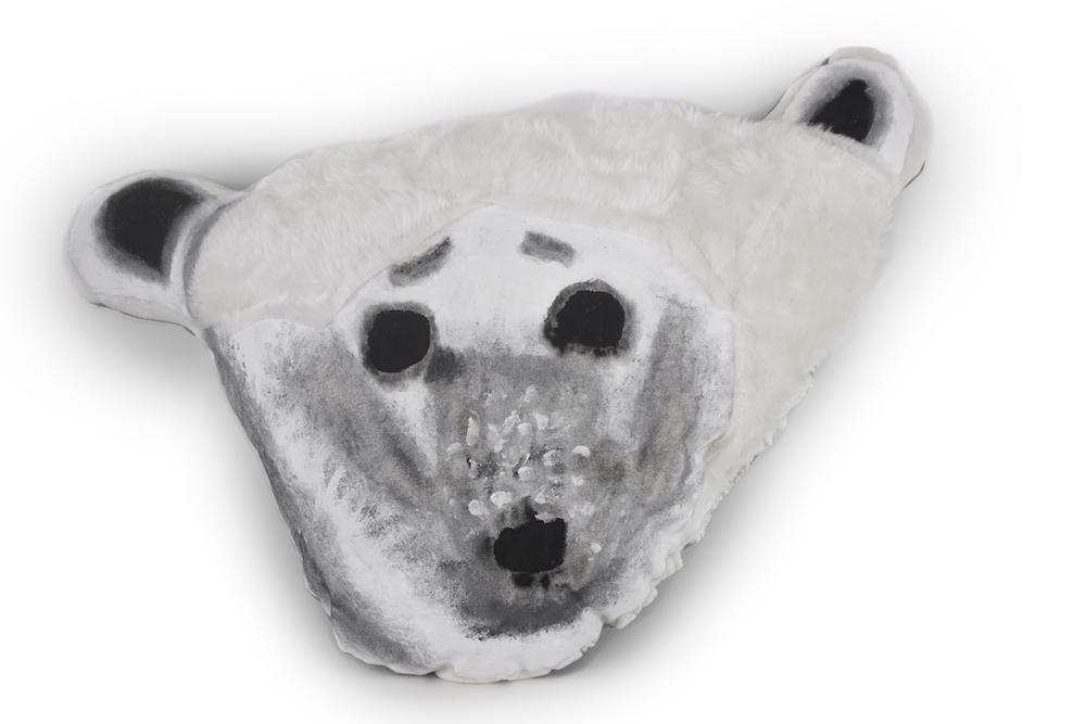 Polar Bear, 2017, posca and fabric paint on padded fabric and faux fur, 56x32x15cm