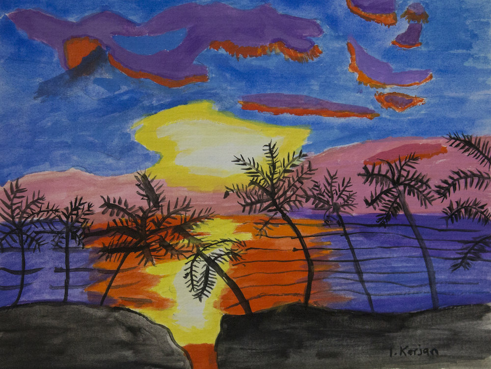 Sunset, 2015, watercolour on paper, 25x20cm