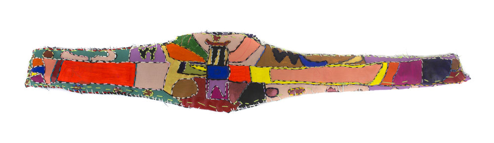 Victoria Atkinson, Wrestling Belt, 2018,Hand stitching, embroidery, acrylic paint and posca on padded canvas, 20.0cm x 104.0cm x 1.0cm