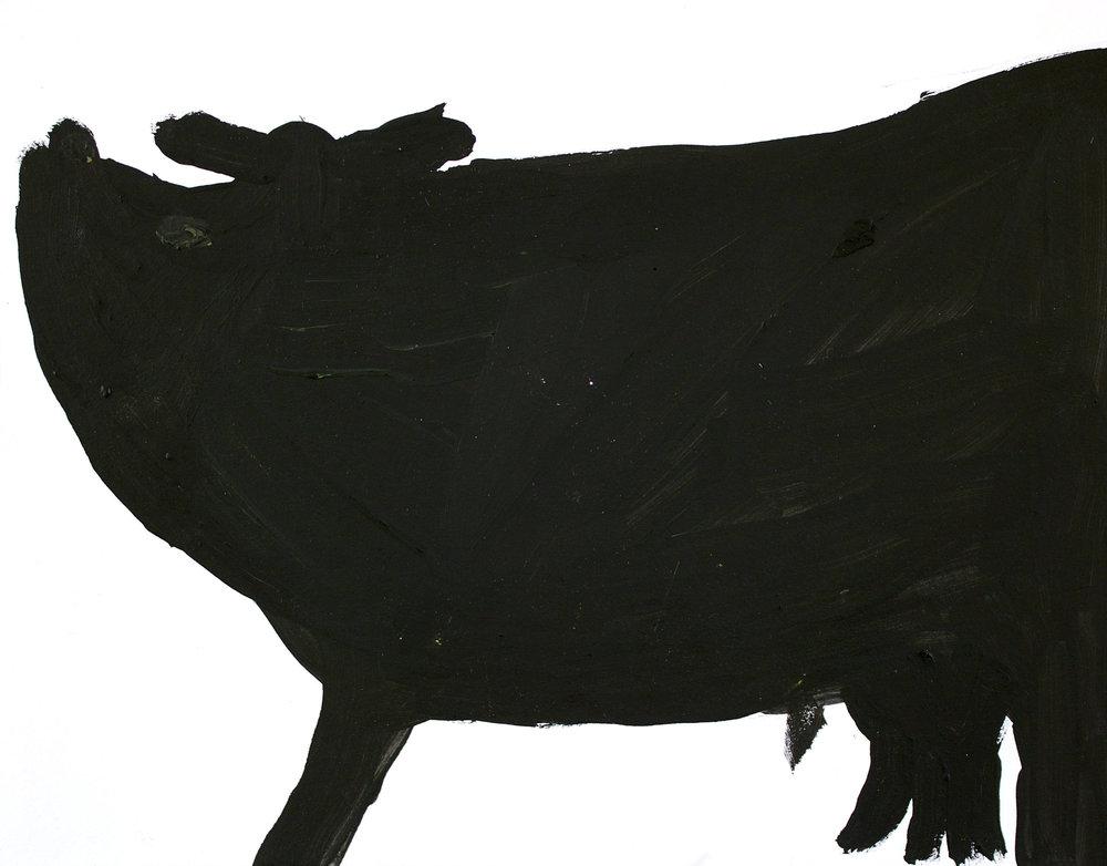 Big Black Bull, acrylic on paper