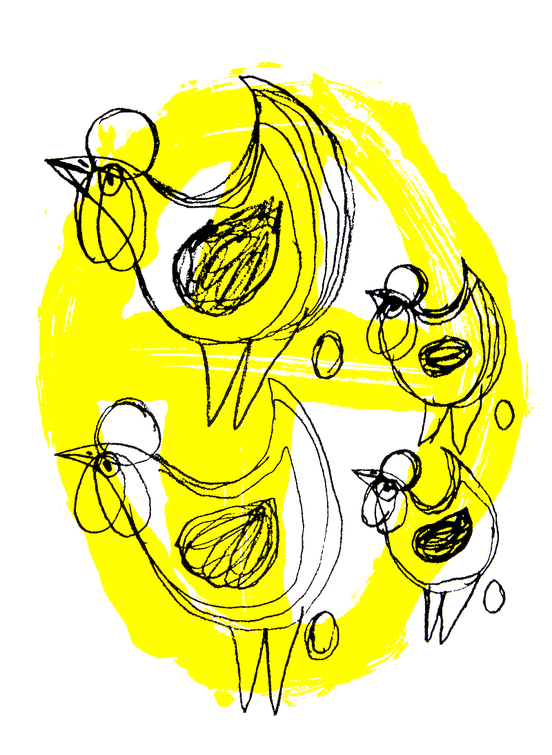 Four Chickens, 2017, screen print on paper, 42x59cm, edition of 4