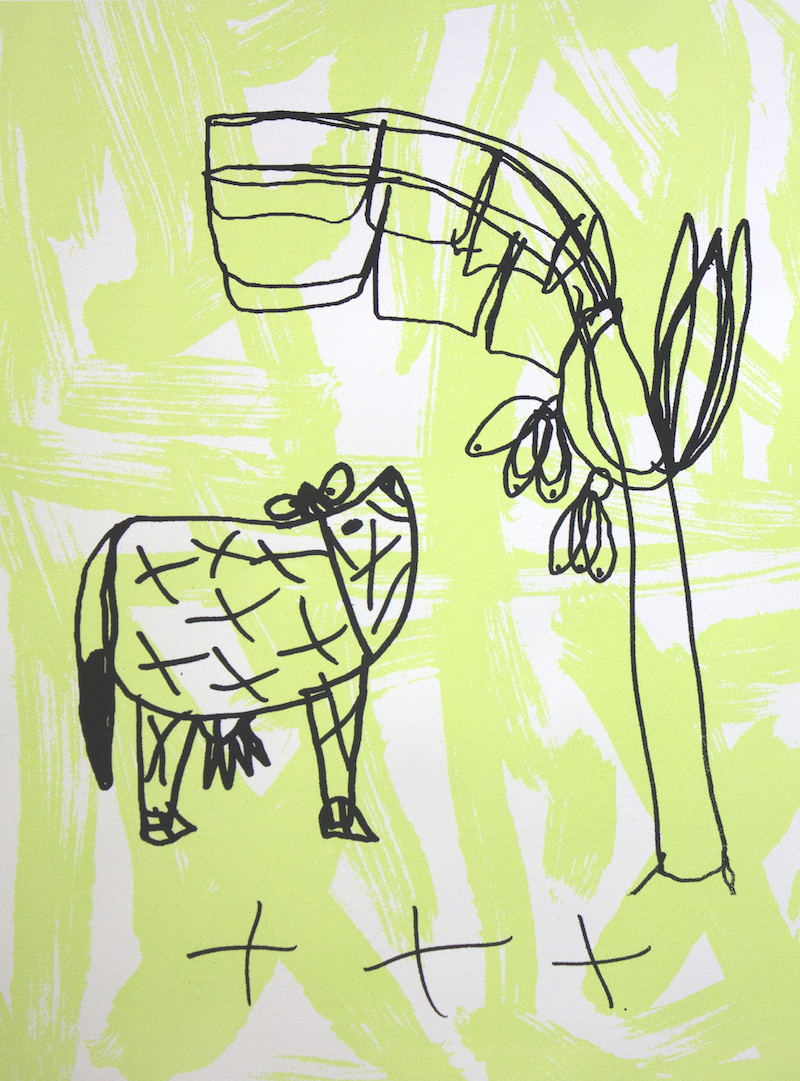 Cow and Tree, 2017, screen print on paper, 42x59cm, edition of 4