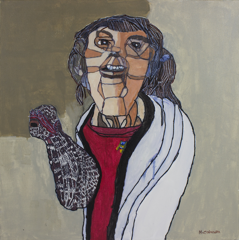 Chicken Lady (Emily), 2017, acrylic and pen on canvas, 45x45cm