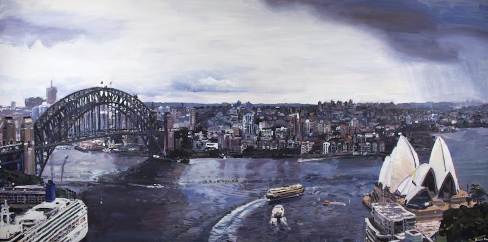 Sydney Harbour with Opera House, 2017, acrylic on canvas, 182x91cm