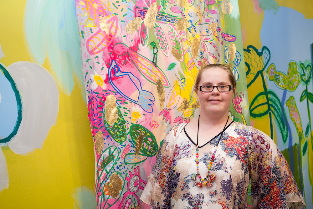 """At Studio A my art has gone good good good. Since coming to Studio A I feel like a gold star genius. I love meeting new artists through the program. Making art makes me feel like rainbow colours, like I am an adventurer."" - Emily Crockford, Studio A supported artist."