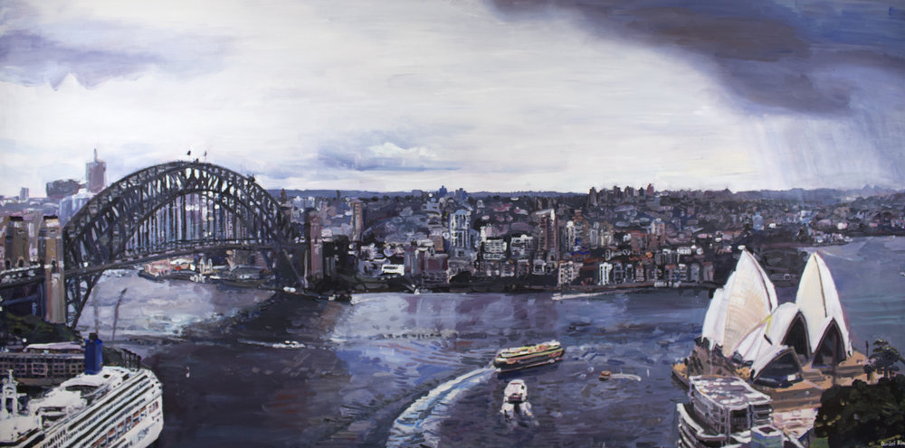 Daniel Kim,  Sydney Harbour with Opera House , 2017, acrylic painting on canvas, 183 x 92 cm